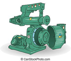 Industrial Machine Illustration - Sketch of pellets making...