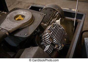 Industrial machine parts closeup