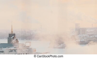 Industrial manufactoring. A city full of smoke. Ecology problem.