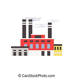 Industrial manufactory building, plant, factory vector illustration
