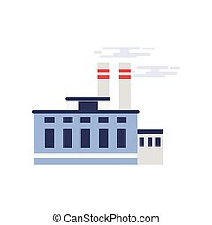 Industrial manufactory building, power or chemical plant, factory vector illustration