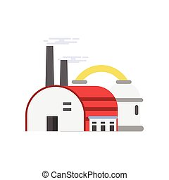 Industrial manufactory building with hangar, refinery plant vector illustration