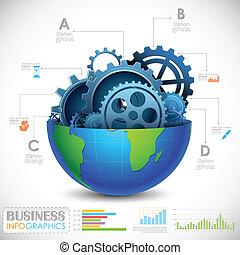 industrial, mapa, infographics