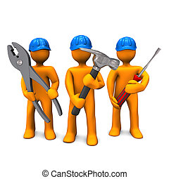 Three orange cartoon characters with blue helmets and tools in the hands. White background.