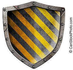 industrial, metal, escudo, com, rebites, isolado, branco