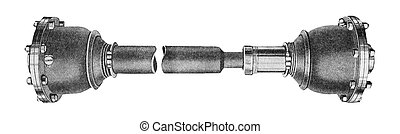 Industrial metal part isolated over white background. Propeller Drive Shaft of a Retro Car.