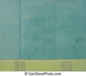 industrial, metal, ventilação, verde, saída, painéis, lado, cabana
