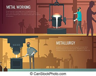 Industrial Metallurgy Foundry 2 Retro Banners - Industrial...