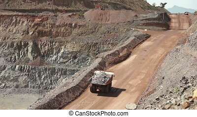 Industrial Mining Haul Truck - High angle shot of a mining...