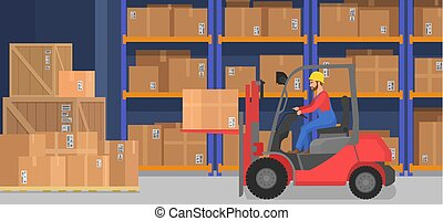 Industrial modern warehouse interior with delivery boxes shelves goods and pallet trucks. Cargo company storage and logistics concept.
