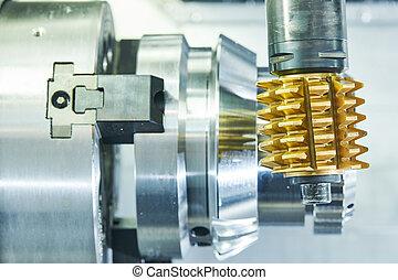 industrial, moendo, cogwheel, process., metal, machining, cnc, moinho, hobbing, cortador