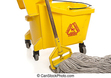 Close-up of Industrial mop and bucket isolated on white background with paths