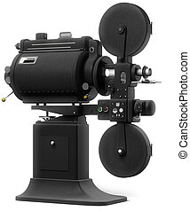 Industrial Movie Projector on White