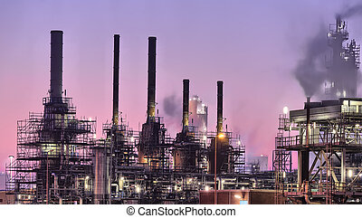 Industrial night scene - Nightly maintenance on industrial...