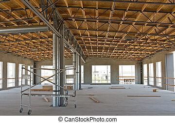 industrial, novo, construção