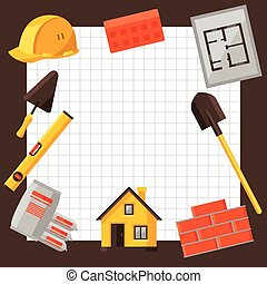 industrial, objetos, caja, construcción, diseño, plano de...