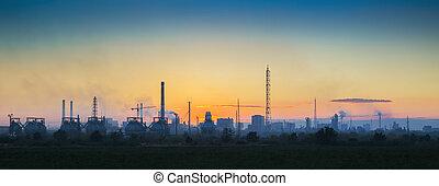 industrial, ocaso, paisaje