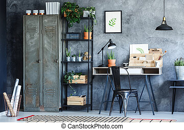 Industrial office room with plants illustration and vintage...