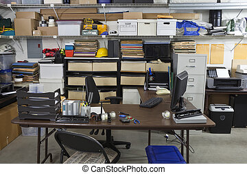 industrial, oficina, desordenado