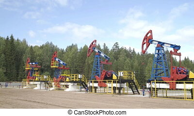 Industrial oil pump jacks pumping crude oil for fossil fuel energy with drilling rigs in oil field. Nodding donkey pump working in middle of forest in sunny summer day