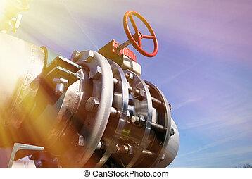 industrial, oleodutos, ligado, pipe-bridge, contra, céu azul