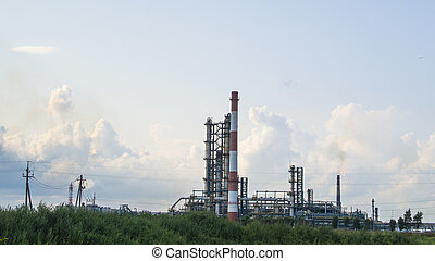 industrial, paisagem, de, refinaria óleo