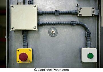industrial, panel de control, instalación, botón