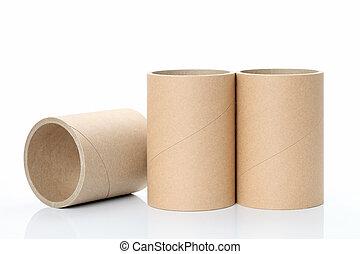industrial, papel, tubo, en, un, ba blanco