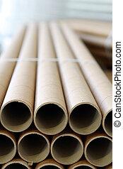 industrial paper core - a bundle of paper rolls