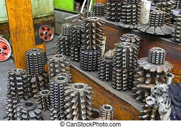 industrial, pedacitos de taladro, amontonado arriba