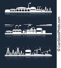 industrial, perfil de ciudad, banderas