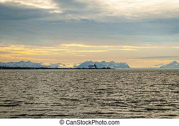 Industrial pier in the Arctic sea, Svalbard