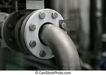 Industrial pipe connection, factory plant - Industrial pipe...