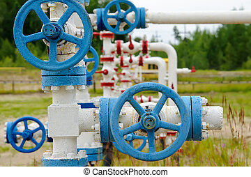 Industrial pipe. - Oil, gas industry. Wellhead with valve...