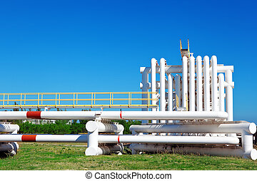 Industrial pipe with gas and oil and water