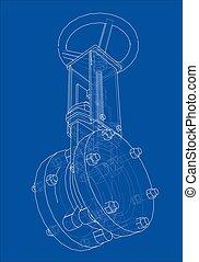 Industrial pipeline gate valve Concept. 3d illustration....