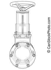 Industrial pipeline gate valve Concept. Vector rendering of ...