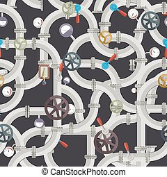 Industrial Pipeline Seamless Pattern