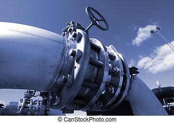 industrial pipelines on pipe-bridge