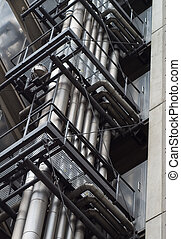 Industrial pipelines - Pattern of metal pipes at an...