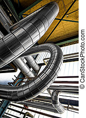 Industrial pipes in a thermal power plant - Large industrial...