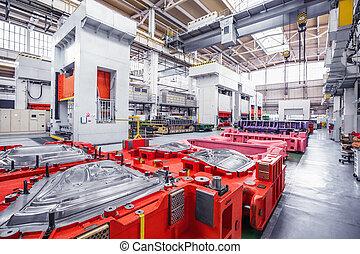 industrial, plano de fondo, con, prensas