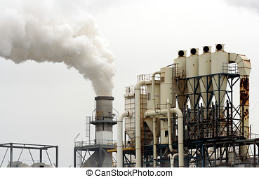 Industrial plant chimney - Industrial plant exhausting white...