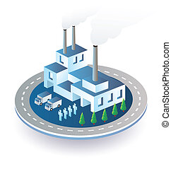 Industrial plant  in isometric view with the landscape
