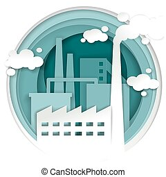 Industrial plant factory concept vector illustration in paper art style