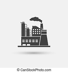 Industrial plant icon. Factory industry power, energy...