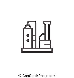 Industrial plant line icon isolated on white. Vector...