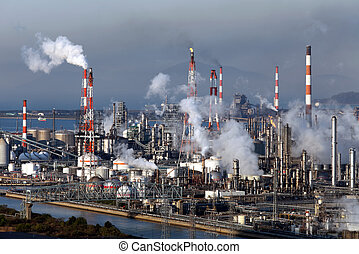 Industrial plant with smoke stacks, industrial site