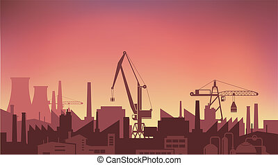 Industrial Plant at sunset the sun