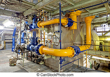industrial plant - chemical industry plant with pipes and...
